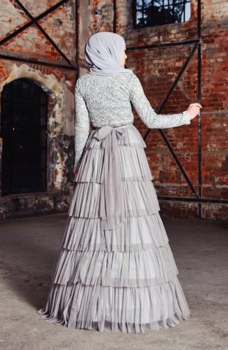 Gray Islamic Clothing Evening Dress 52735-08