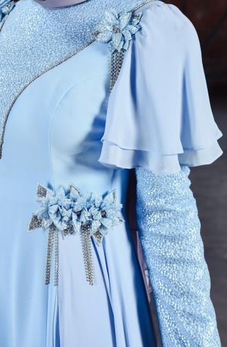 Çiçek Broşlu Abiye Elbise 7024-01 Bebe Mavisi