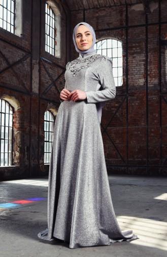 Robe de Soirée a Paillettes 7057-01 Argent 7057-01