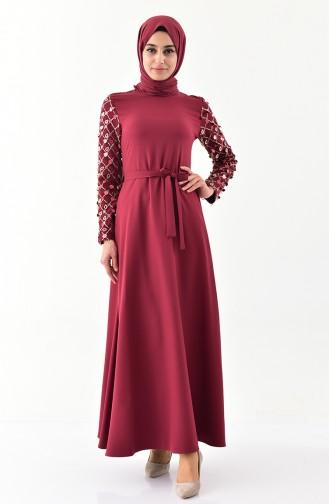 Kol Detaylı Kuşaklı Elbise 8818-03 Bordo