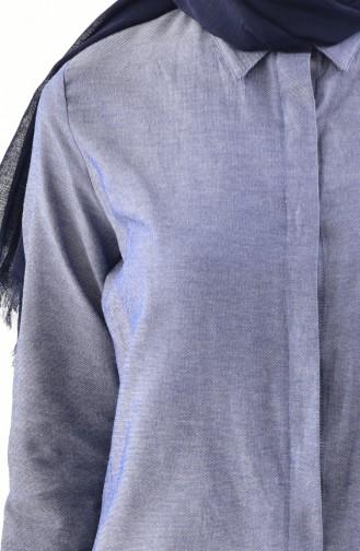 تونيك بتصميم أزرار مخفية 2051-01 لون كحلي 2051-01
