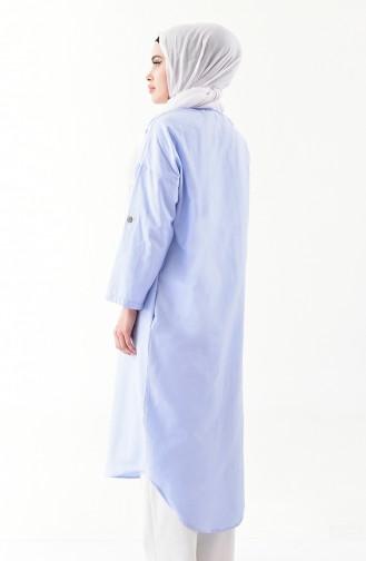 تونيك طويل بتصميم أزرار  1275-01 لون أزرق فاتح 1275-01