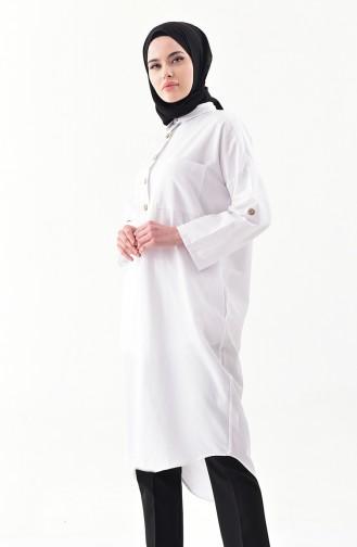 Düğmeli Uzun Tunik 1275-02 Beyaz