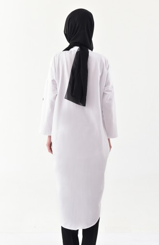 Buttoned Long Tunic  1275-02 White 1275-02