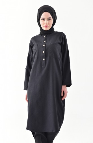Buttoned Long Tunic 1275-05 Black 1275-05