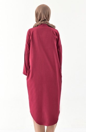 Buttoned Long Tunic 1275-06 Claret Red 1275-06