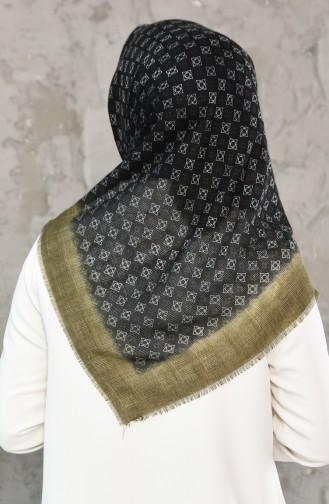 Mesh Fabric Cotton Scarf 2176-17 Khaki Black 2177-17