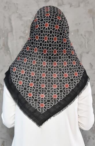 Petek Dokuma Cotton Eşarp 2178-03 Siyah Taba 2178-03