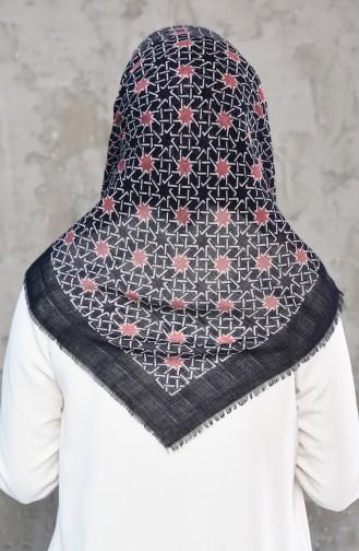 Mesh Fabric Cotton Scarf 2178-07 Navy Dry Rose 2178-07