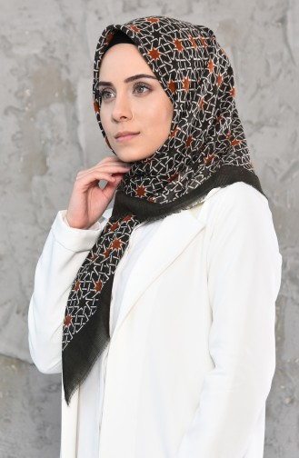 Mesh Fabric Cotton Scarf 2178-09 Khaki 2178-09
