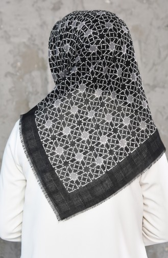 Mesh Fabric Cotton Scarf 2178-12 Black Gray 2178-12