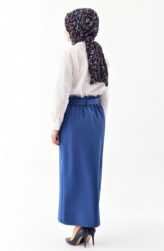 Button Detailed Belted Skirt 5572-04 İndigo 5572-04