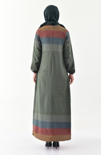 Patterned Linen Dress 2028-01 Khaki 2028-01