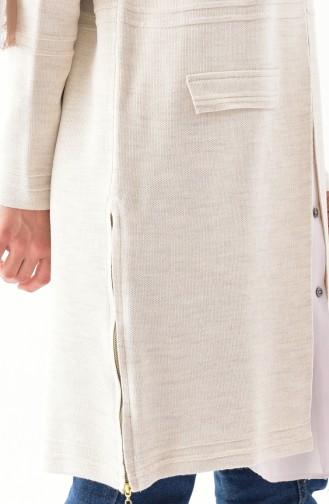Knitwear Pocket Detailed Cardigan 17707-01 Cream 17707-01