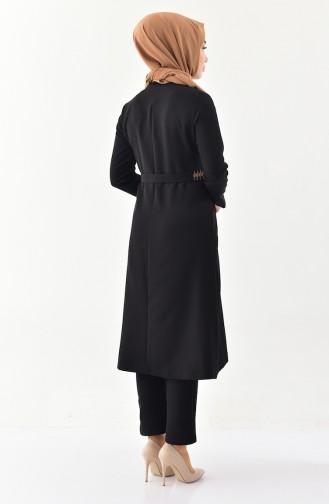 Nakışlı Kap Pantolon İkili Takım 9000-03 Siyah