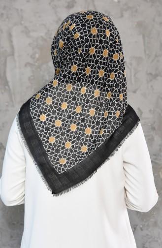 Petek Dokuma Cotton Eşarp 2178-08 Siyah Hardal 2178-08
