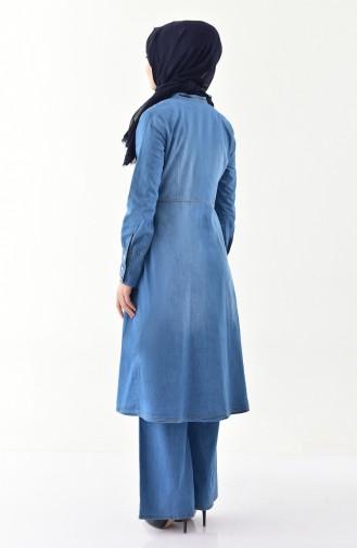 مس فالي طقم جينز بتصميم مثطبع باحجار لامعة 9029-01 لون ازرق جينز 9029-01