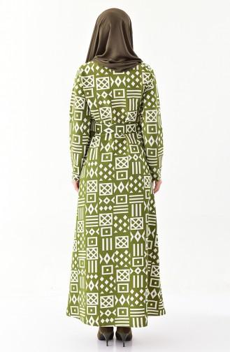Kleid mit Gürtel 114-01 Khaki 1114-01