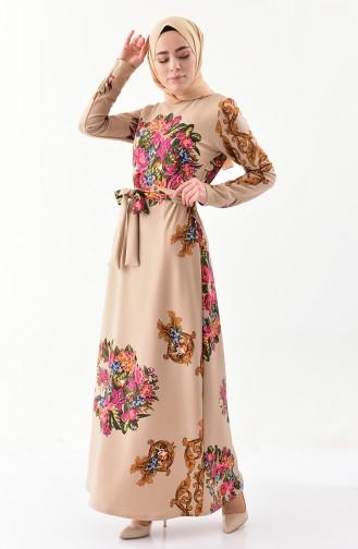 Gemustertes Kleid mit Band 1120-02 Beige 1120-02