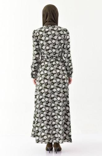 Gemustertes Gefälteltes Kleid 2054A-01 Khaki 2054A-01