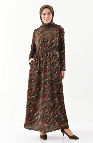 Belly Pleated Patterned Dress 2055-02 Khaki 2055-02