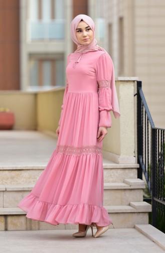 Dantel Detaylı Şifon Elbise 5472-04 Pudra 5472-04