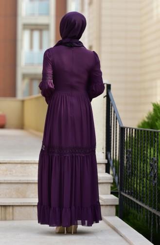 Dantel Detaylı Şifon Elbise 5472-05 Mor