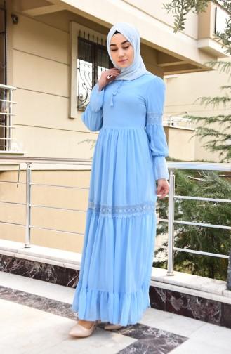 Dantel Detaylı Şifon Elbise 5472-06 Bebe Mavisi