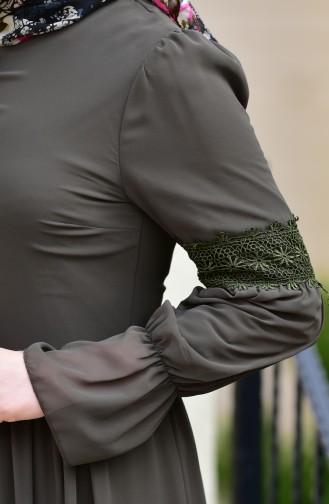 Dantel Detaylı Şifon Elbise 5472-08 Haki Yeşil 5472-08