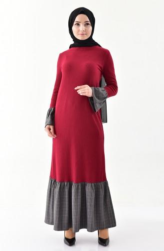 فستان بتفاصيل من الكشكش 2031-02 لون أرجواني 2031-02
