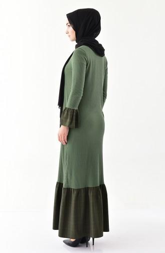 فستان بتفاصيل من الكشكش 2031- 06 لون أخضر كاكي 2031-06