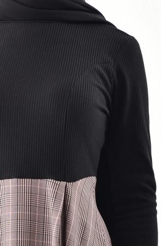 Garnili Elbise 2030A-01 Siyah Pudra 2030A-01