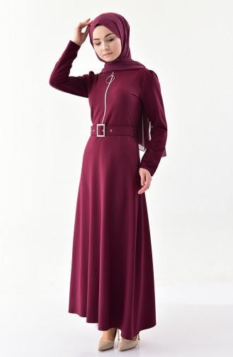 فستان بسحاب وحزام باللون العنابي 4507-01