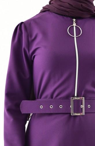 Fermuar Detaylı Kemerli Elbise 4507-03 Mor