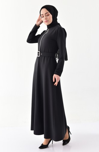 Fermuar Detaylı Kemerli Elbise 4507-06 Siyah