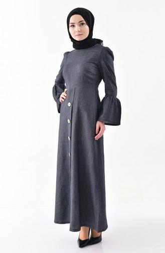 Düğme Detaylı Elbise 4408-04 Lacivert 4408-04