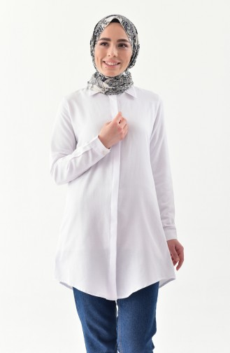Hidden Buttoned Tunic 2051-02 White 2051-02