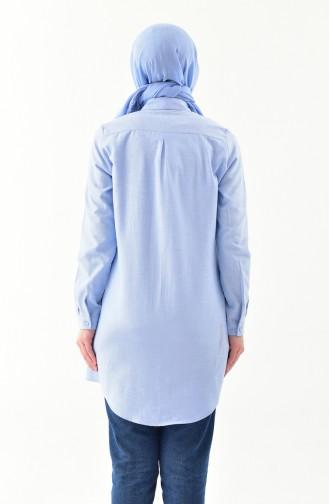 Gizli Düğmeli Tunik 2051-03 Bebek Mavisi