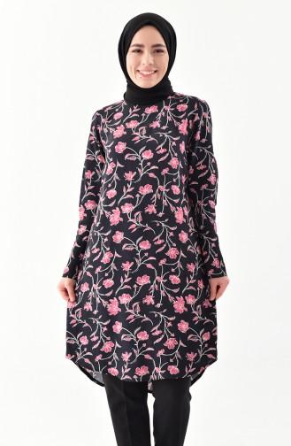 Çiçek Desenli Tunik 1066-01 Siyah 1066-01