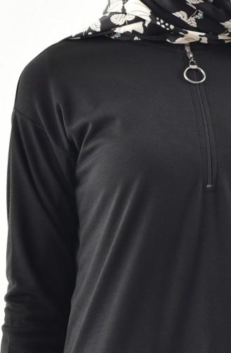 Zipper Detailed Tunic 0681-03 Black 0681-03