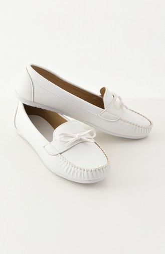 Women Flat Shoes Ballerina 100-03 White 100-03
