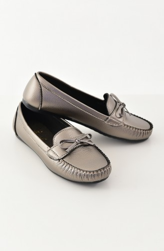 Women Flat Shoes Ballerina 100-08 Platinum 100-08