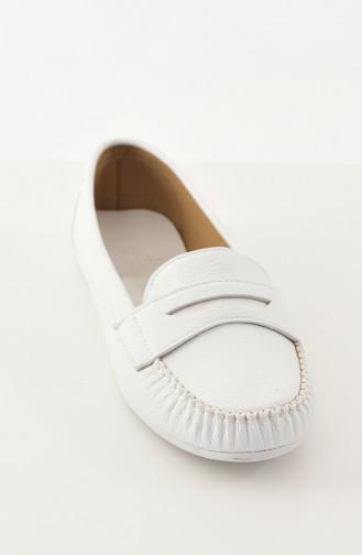 Women Flat Shoes Ballerina 101-03 White 101-03