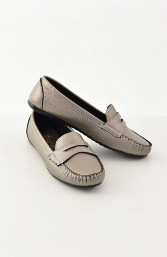 حذاء مُسطح باليرينا 101-08 لون بلاتيني 101-08