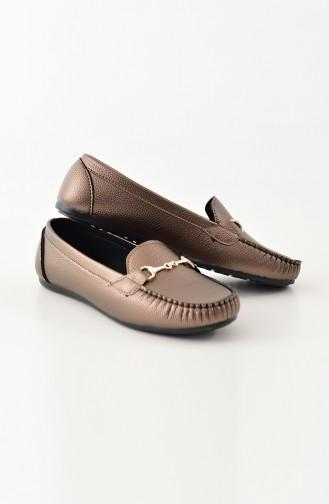 Women Flat Shoes Ballerina 102-01 Copper 102-01