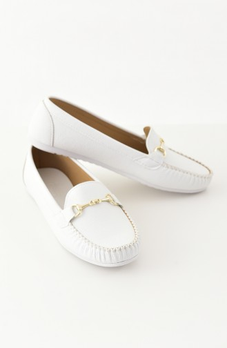 Women Flat Shoes Ballerina 102-03 White 102-03