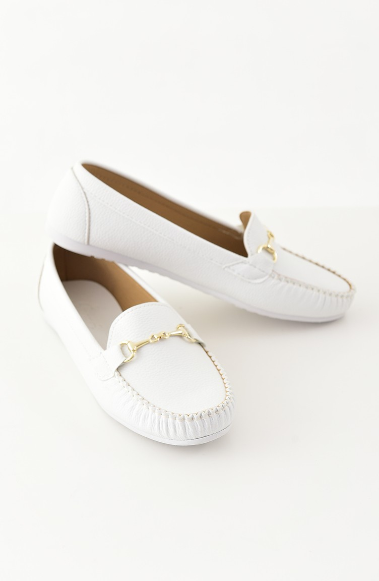 Women Flat Shoes Ballerina 102-03 White
