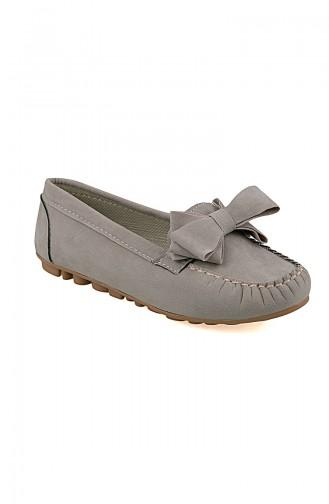 حذاء مسطح بني مائل للرمادي 0104-15
