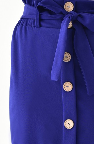 Button Detailed Belted Skirt 5572-01 Saks 5572-01