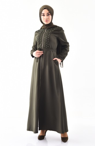 MISS VALLE Belted Pearls Abaya 8920-05 Khaki 8920-05